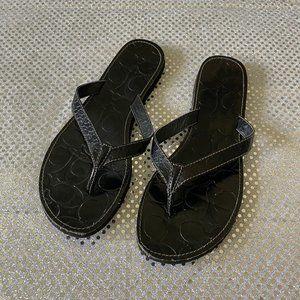 Coach Cadee Black Flip Flop Sandals Size 7